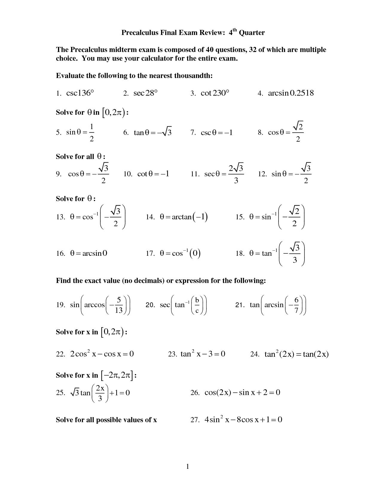 Precalculus Practice Exam Worksheet