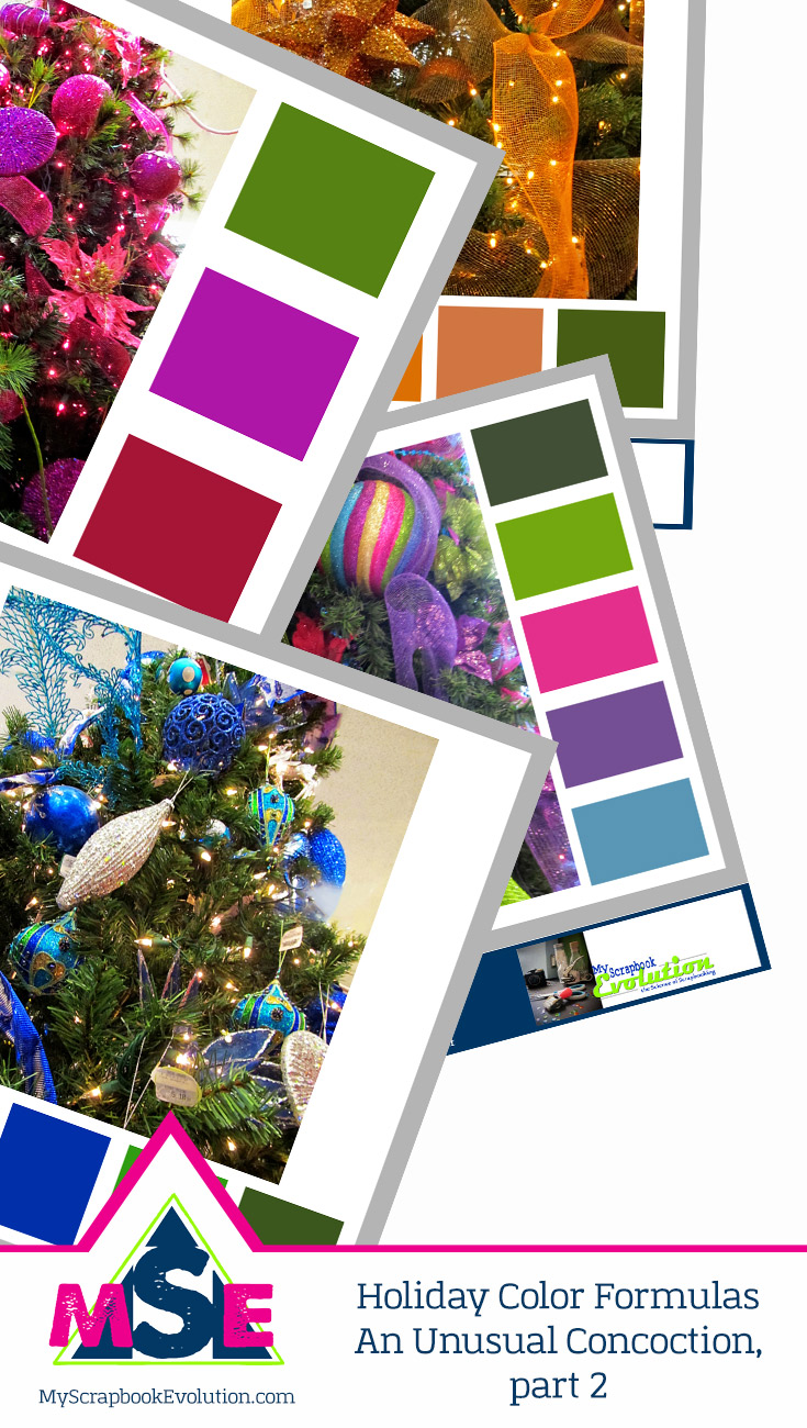 Looking for a non traditional Holiday or Christmas color palette for your next scrapbook layout, DIY or craft project- Try one of these unusual concoctions