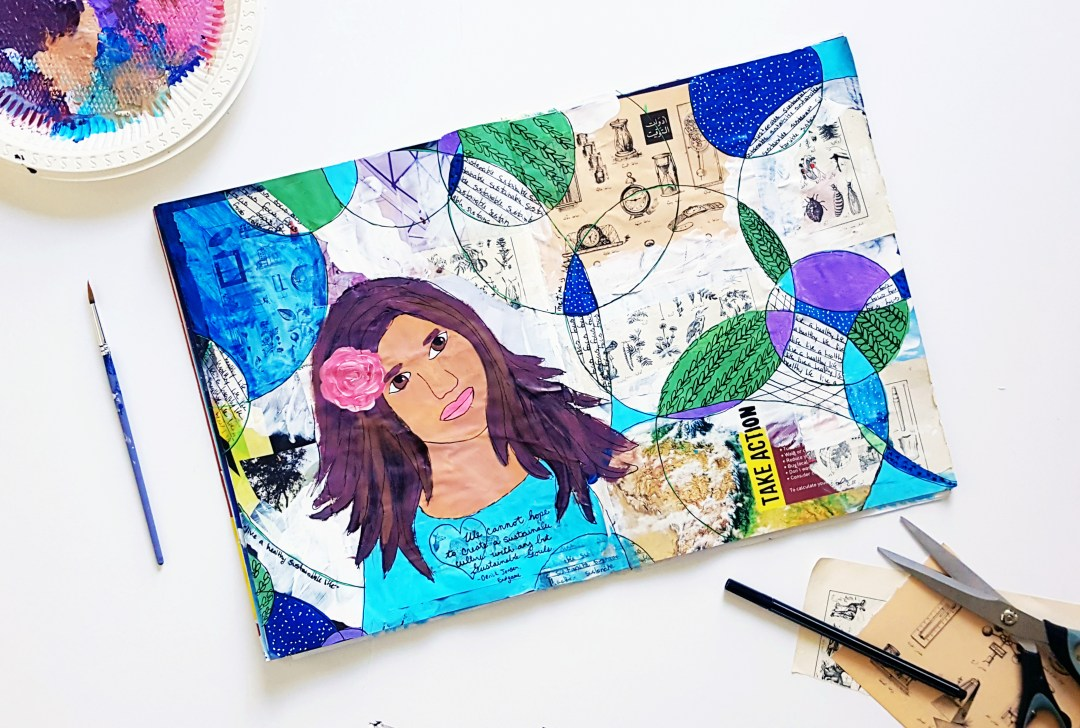 Take Action, an art journal page by Christy Strickler for the Sustainable Souls Project