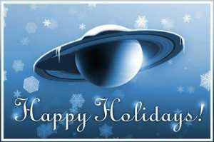 "Snow-covered Saturn with ""Happy Holidays"" greeting"
