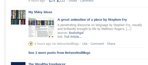 Screencap of Automated blog post on Facebook
