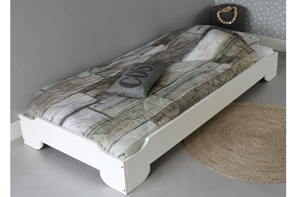 lit empilable solo edition 90x200 1 lit en opaque blanc bois de pin massif sommier gratuit