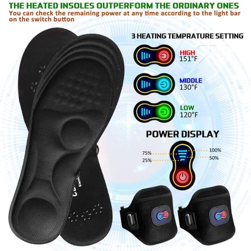 Memory Foam Heated Foot Warmers with Power Display