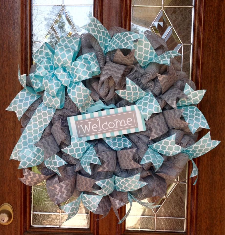 Gray Burlap Welcome Wreath with Turquoise Accents