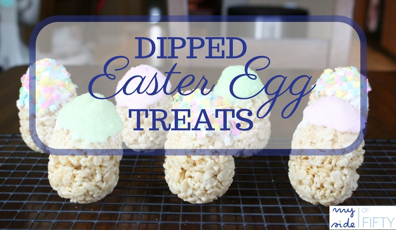 Dipped Easter Egg Treats from Momluck.com. Yummy rice cereal treat shaped like Easter Eggs then dipped in Frosting & Sprinkles. Great Easter treat to make with kids.