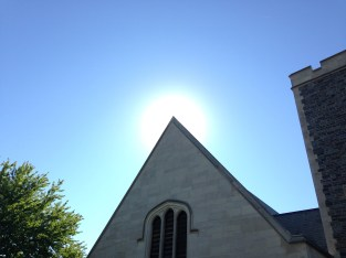 The sun rising over Whitman's dining hall