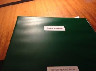 Binder containing winning Rhodes Scholarship applications