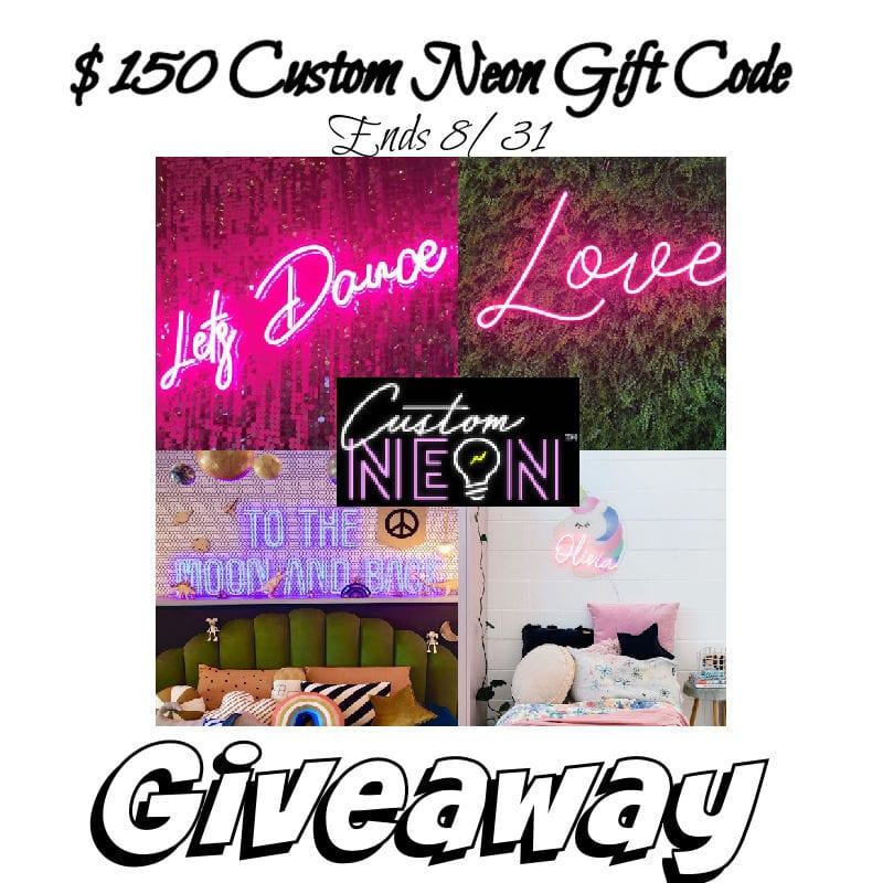 $150 Custom Neon Gift Code Giveaway ~ Ends 8/31 @las930 #MySillyLittleGang