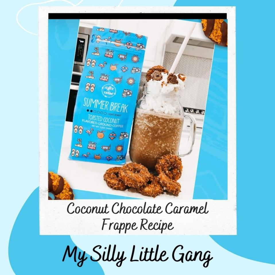 Coconut Chocolate Caramel Frappe Recipe #MySillyLittleGang #Coffee