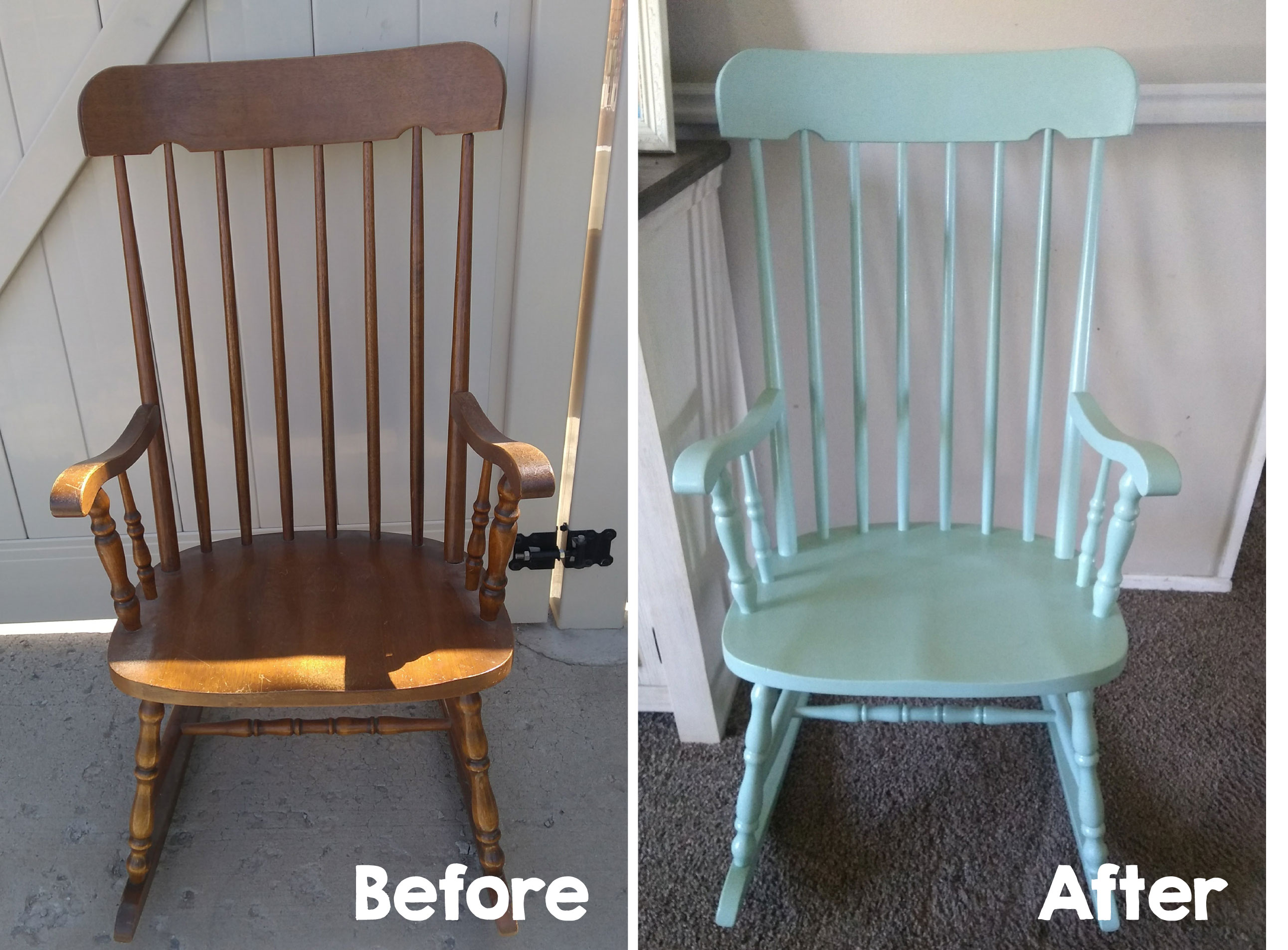 Gentil Before And After Pictures Of My Refinished Rocking Chair.