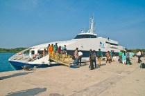 Deboarding catamaran