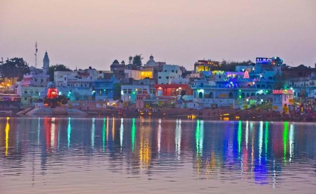 Ghats of Pushkar lake sunset