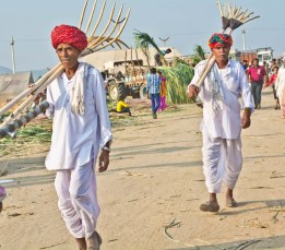 Men at Pushkar camel Fair ground