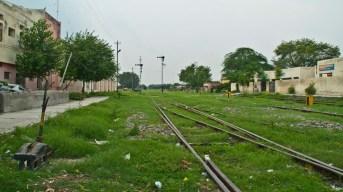 Railway tracks going towards border at Attari railway station Amritsar