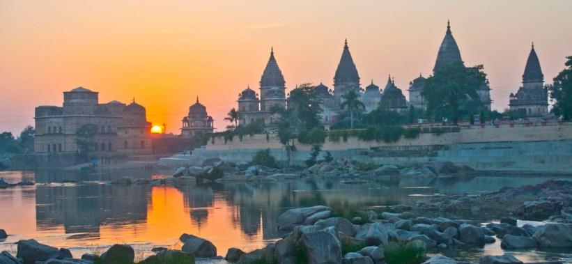Orchha cenotaphs sunset