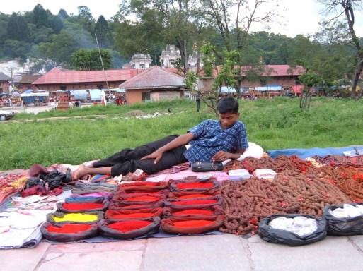Market outside Pashupatinath temple in Kathmandu Nepal