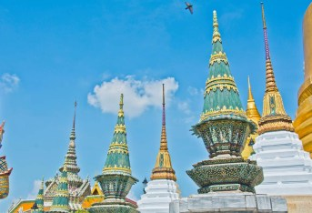 Embelished stupas in Royal palace Bangkok