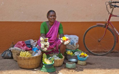 Flowers seller at Goa temple