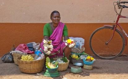 Flowers seller at Goa temple