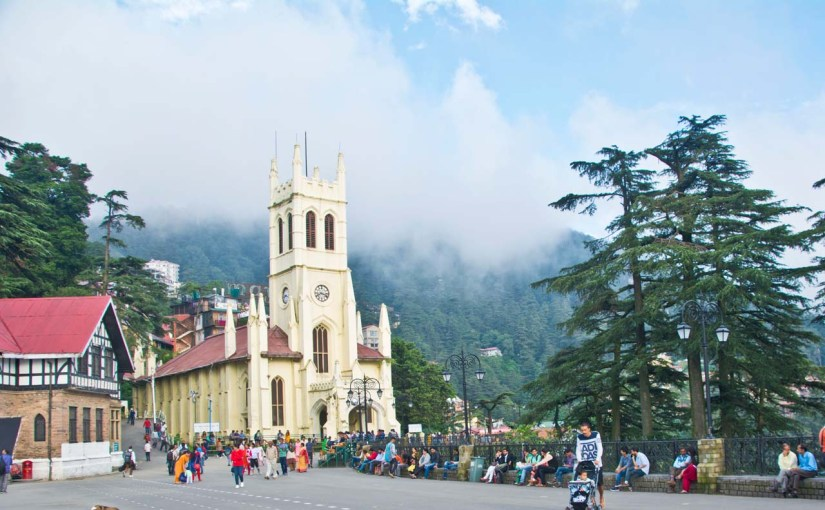 Christ church Shimla with clouds