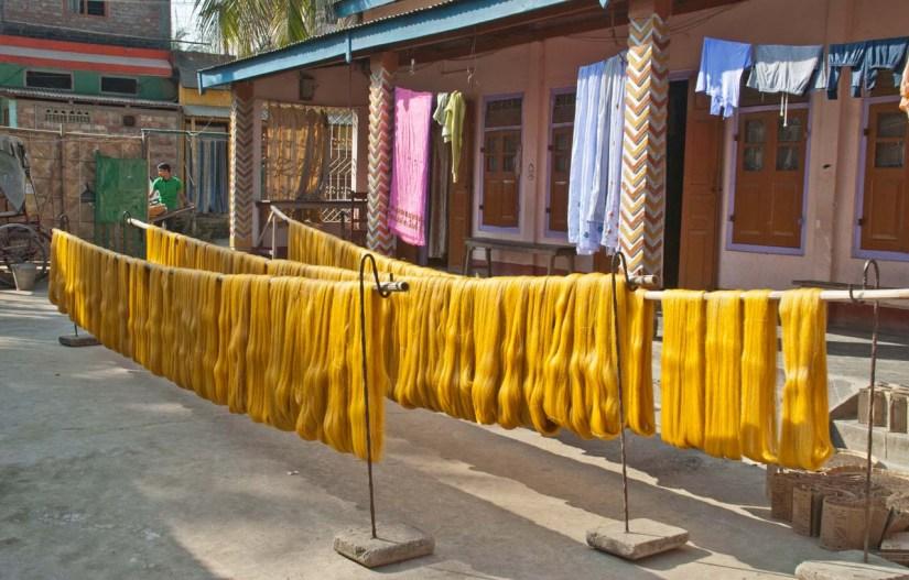 Yarn drying at Weaving unit of Sualkuchi Assam