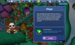 Diggs tauscht überschüssige Ressourcen gegen andere, unter anderem auch Edelsteine, möchte aber erst einmal eine ganze Menge Steine haben bevor er auf die Insel zieht