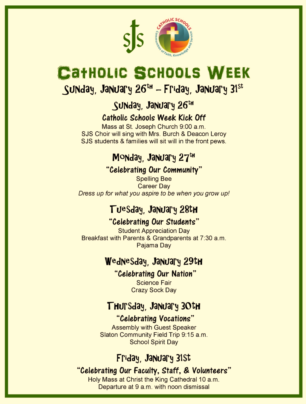 Catholic School Week St Joseph School