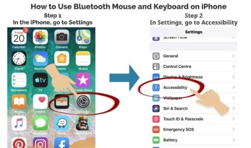 How to use Bluetooth mouse and keyboard on iPhone step 1 step 2