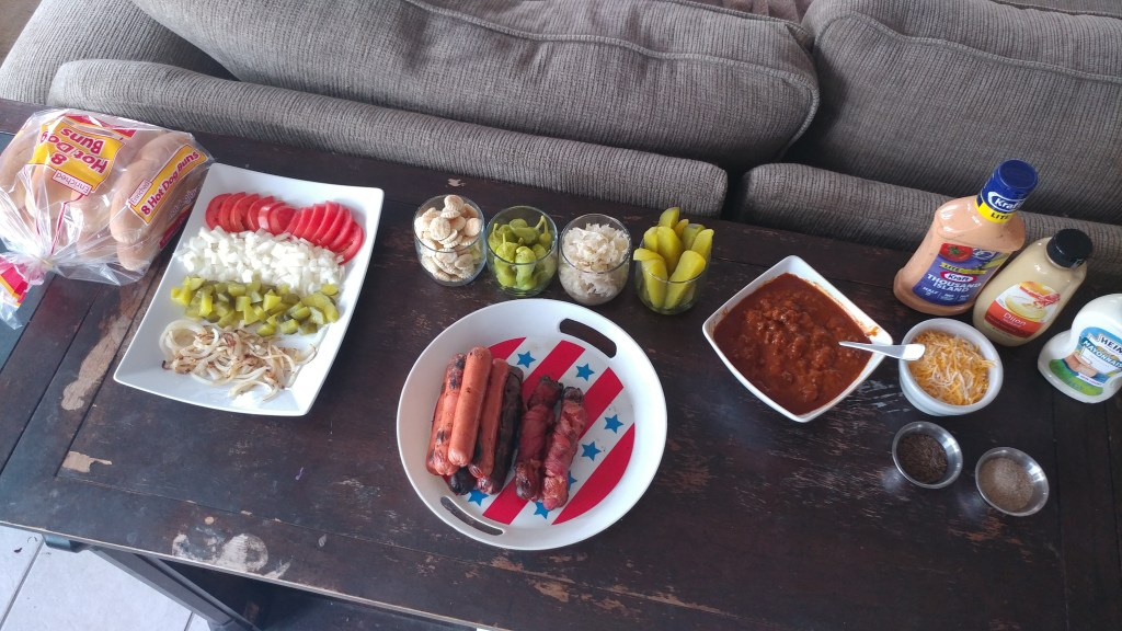 Check out this AWESOME hot-dog toppings bar with EVERYTHING you could ever need!!