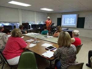 Karen Tiede teaching Pinterest marketing at the Small Business Center in Dunn, NC.