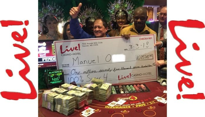 Man hits for $1 million on a $5 bet at Live! Casino & Hotel