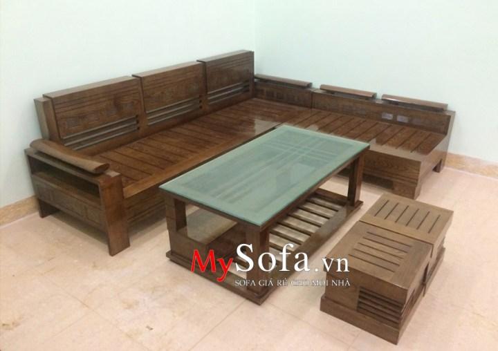 Bộ ghế Sofa gỗ sang trọng AmiA SFG017, dạng góc