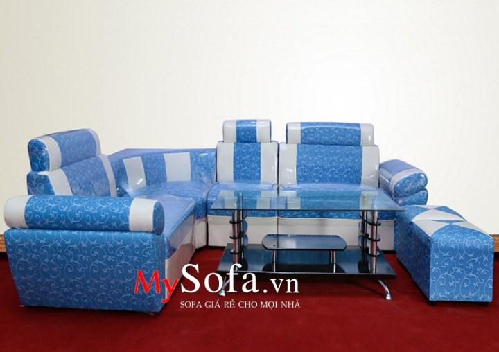 Hình ảnh bộ Sofa da giá rẻ AmiA SFD025 màu xanh họa tiết