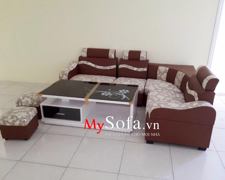 Mẫu Sofa da pha nỉ hoa văn AmiA SFD072