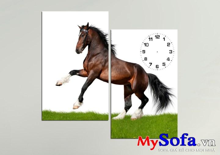 Tranh đồng hồ treo tường AmiA 147 hình chú ngựa chiến