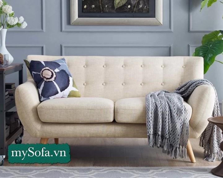 Mẫu sofa văng nỉ nhỏ màu kem giá rẻ
