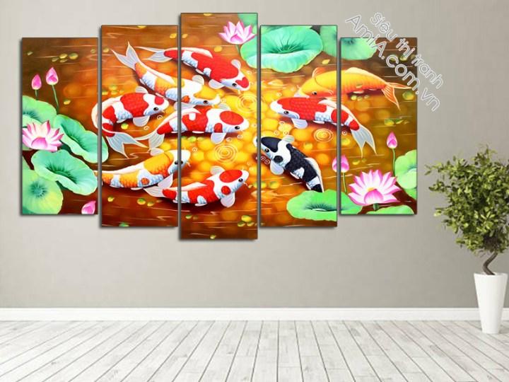 Mẫu tranh cá chép hoa sen đẹp treo phòng khách