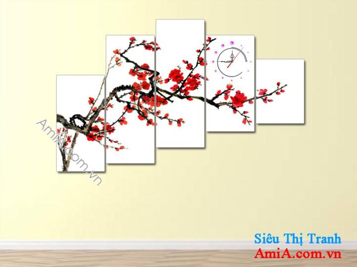 Tranh hoa đào 5 tấm ghép bộ nghệ thuật treo phòng khách gia đình