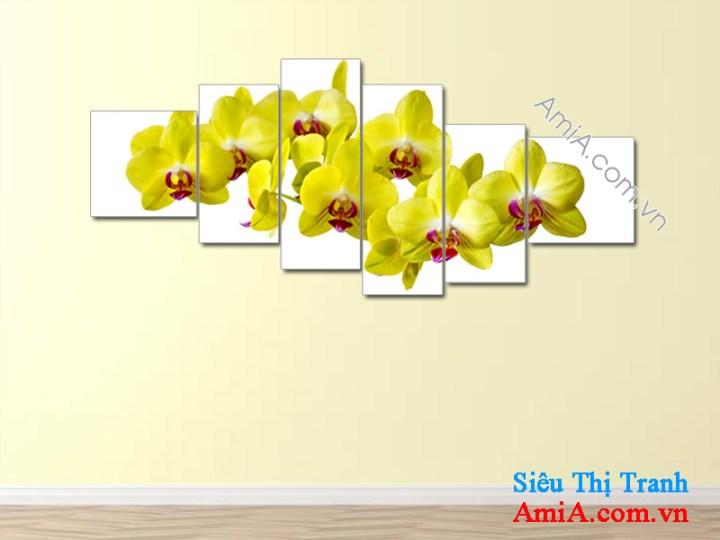 Mẫu tranh hoa lan vàng đẹp treo trang trí phòng khách