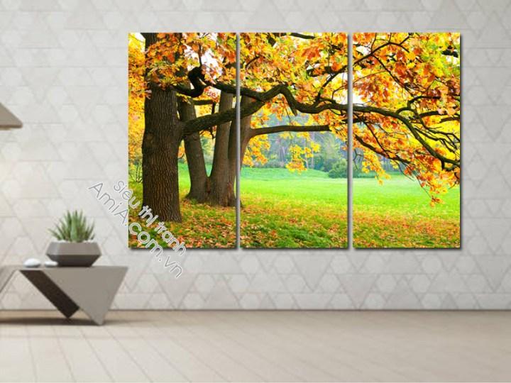 Tranh treo phòng khách phong cảnh mùa thu