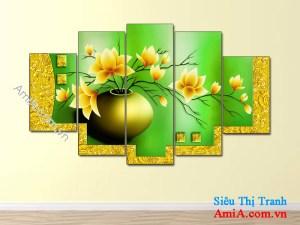 Mẫu tranh treo tường đẹp bình hoa sen đất AmiA 1086-2
