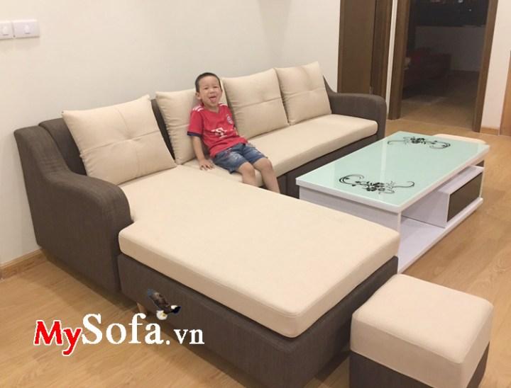 Sofa góc chữ L chất liệu vải nỉ kê phòng khách chung cư