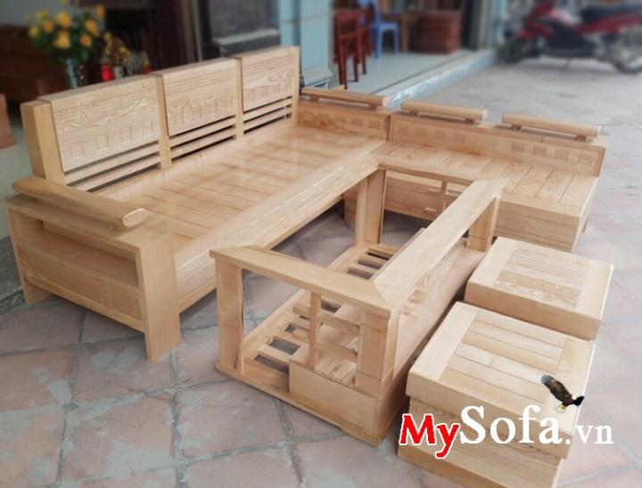 Sofa phòng khách chất liệu gỗ sồi tự nhiên đẹp giá rẻ