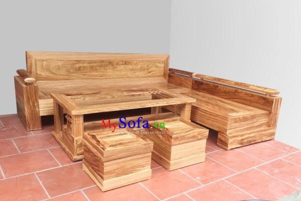 Mẫu Sofa gỗ góc chữ L cho phòng khách