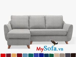 Ghế sofa góc chữ L chất nỉ màu ghi đẹp hiện đại cho phòng khách