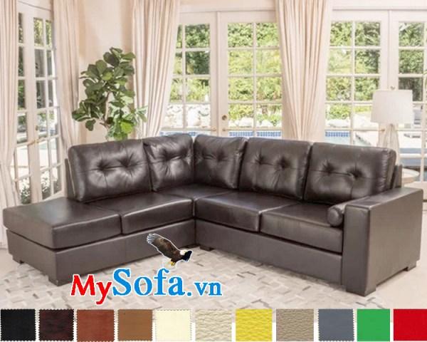 sofa góc da sang trọng mys 0619212 với lớp da đen ánh nâu thời thượng