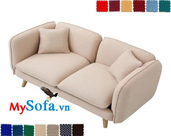 sofa văng thiết kế mới lạ mys 0619272 với lớp vải nỉ trắng sữa vô cùng tinh tế