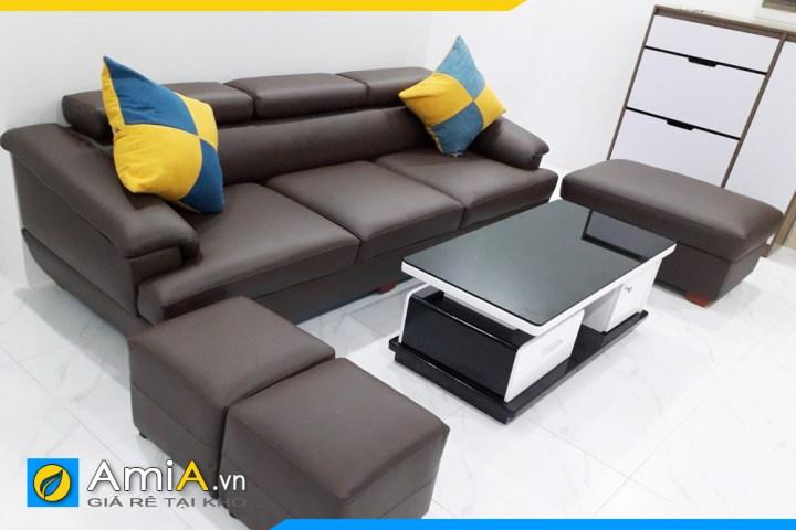 Bộ ghế sofa văng da 3 chỗ ngồi cho phòng khách nhỏ