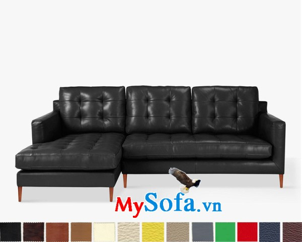 Bộ sofa chữ L da màu đen MyS-1911539