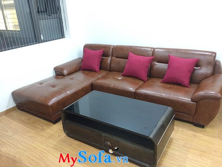 Hình ảnh Ghế sofa da chữ L 3 chỗ bài trí ở phía góc căn hộ chung cư